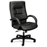 Basyx by Hon VL690 Series Executive High-Back Leather Chair, Black Leather