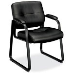 Basyx by Hon VL690 Series Guest Leather Chair, Black Leather