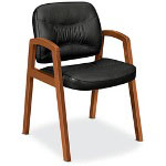 Basyx by Hon VL800 Series Guest Chair w/Wood Arms, Black Leather/Bourbon Cherry Finish