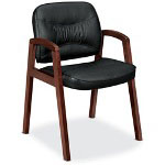 Basyx by Hon VL800 Series Guest Chair w/Wood Arms, Black Leather/Mahogany Finish