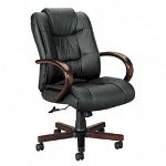 Basyx by Hon VL800 Series Exec. High Back Swivel/Tilt Chair, Black Leather/Bourbon Cherry