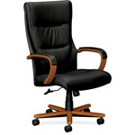 Basyx by Hon VL844 Series High-Back Swivel/Tilt Chair, Black Leather/Bourbon Cherry