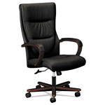 Basyx by Hon VL844 Series High-Back Swivel/Tilt Chair, Black Leather/Mahogany
