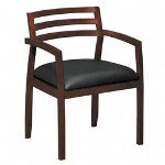 Basyx by Hon Wood Guest Chairs with Black Leather Seat & Slatted Back, Bourbon Cherry Finish