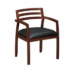 Basyx by Hon Wood Guest Chairs with Black Leather Seat & Slatted Back, Mahogany Finish