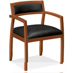 Basyx by Hon VL850 Series Wood Guest Chairs with Black Leather Seat/Back, Bourbon Cherry