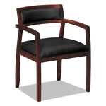 Basyx by Hon VL850 Series Wood Guest Chairs w/Black Leather Seat/Upholstered Back, Mahogany