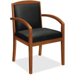 Basyx by Hon VL850 Series Wood Guest Chair, Black Leather Upholstery w/Cherry Veneer