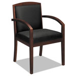 Basyx by Hon VL850 Series Wood Guest Chair, Black Leather Upholstery w/Mahogany Veneer