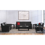Basyx by Hon VL870 Series Leather Reception Three-Cushion Sofa, 73w x 28 3/4d x 32h, Black