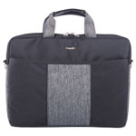 bugatti Slim Computer Briefcase, 15.5 x 1.75 x 11.5, Black/Gray