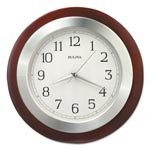"Bulova Reedham Wall Clock, 14"" Diameter, Walnut"