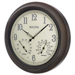 "Bulova Weather Master Wall Clock, 18"" Diameter, Oil Rubbed Bronze"