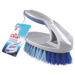 "Mr. Clean Iron Handle Brush, 6 1/2"" Brush, 1 1/2"" Bristles, Gray/Blue, 4/Carton"