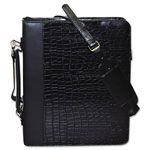 Buxton Zip-Around Cal-Q Folio, Croco Cover, Calculator, 3-Ring, Pad, Pocket, Black