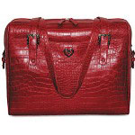 "Buxton Croco Grain 15.6"" Laptop Tote, Front/BackPockets, Double Zipper Pulls, Red"