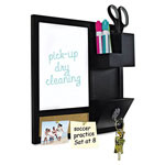 "MasterVision™ Combo Dry Erase and Cork Station w/Storage, 16"" x 16"", Black Frame"