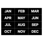 "Bi-silque Visual Communication Product Inc Calendar Magnetic Tape, Months Of The Year, Black/White, 2"" x 1"""