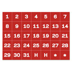 "Bi-silque Visual Communication Product Inc Calendar Magnetic Tape, Calendar Dates, Red/White, 1"" x 1"""
