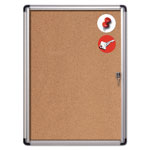 MasterVision™ Slim-Line Enclosed Cork Bulletin Board, 28 x 38, Aluminum Case