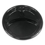 "Boardwalk Hi-Impact Plastic Dinnerware, Plate, 10"" Dia., 3 Compartments, Black, 500/Carton"