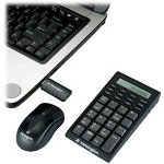 Kensington Wireless Notebook Keypad/Calculator And Mouse Set - Keypad - Wireless - RF - Mouse - USB Wireless Receiver - Black - US