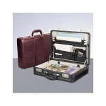 Bond Street Expandable Leather Attache, 18w x 4 to 5d x 13 1/2h, Black