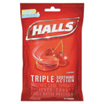 Halls Triple Action Cough Drops, Cherry, 30/Bag