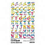 "Chartpak/Pickett Rub On Art Letter Transfers, Festive Style, 15/16""x13/16"", Assorted Colors"
