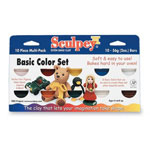 Chenille Kraft Company Sculpey Clay, Sampler Pack, Soft Pliable, 10 Bright colors, 2oz.