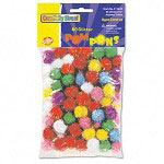 "Chenille Kraft Company 1/2"" Multicolored Poms, 80 Per Bag"