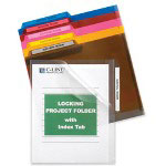 "C-Line Locking Project Folders, w/ Index Tabs, 11"" x 8-1/2"" 25/PK, Asst."