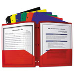 C-Line Two-Pocket Heavyweight Poly Portfolio Folder w/3-Hole Punch, Letter, Assorted