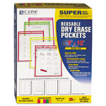 C-Line Reusable Dry Erase Pockets, 9 x 12, Assorted Neon Colors, 25/Box