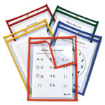C-Line Reusable Dry Erase Pockets, Open on 2 Sides, 9 x 12, Asst. Primary Colors, 25/PK