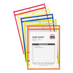 C-Line Shop Ticket Holder for 9x12 Insert, Taped & Neon Stitched Edges, Clear, 10/Box