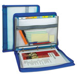 "C-Line Zippered Binder with Expanding File, 10.88"" x 1.5"", Bright Blue"