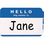 "C-Line Self Adhesive ""Hello"" Name Badges, White/Blue, 3 1/2 x 2 1/4, 100/Box"