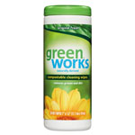 Green Works Naturally Derived Wipes, 7 x 7 1/2, Original Scent, 30/Canister