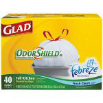 Glad Glad White Trash Bags, 13 Gallon, OdorShield, Box of 4