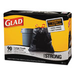 Glad® Glad Black Drawstring Trash Bags, 30 Gallon, 1.1 Mil, Case of 90