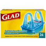 Glad Recycling Bag, Handle Tie, 16 x 8, 13-Gallon, .85 Mil, Blue, 26/Box