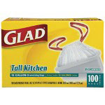 Glad Glad White Drawstring Trash Bags, 13 Gallon, 0.90 Mil, 3 Boxes of 100