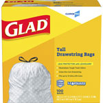 Glad Drawstring Tall Kitchen Bags, 13 Gallon, .95mil, White