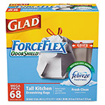 Glad OdorShield Tall Kitchen Drawstring Trash Bags, Fresh Scent, 13Gal,68/BX, 4 Boxes