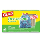Glad Tall Kitchen Blue Recycling Bags, Drawstring, 13 gal, 0.9 mil,45/Box