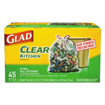 Glad Recycling Tall Kitchen Drawstring Trash Bags, Clear, 13 gal, .9 mil, 45/Box