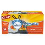 Glad ForceFlex OdorShield Bags, Hawaiian Aloha, 13gal, White, 34/Box, 6 Boxes/Carton