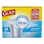 Glad OdorShield Small Trash Bags, 8 x 9 x 18, 0.5mil, White, 26/Box, 6 Boxes/Carton