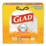 Glad OdorShield Kitchen Drawstring Bags, Hawaiian Aloha, 13 gal, White, 80/Box